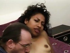 Amateur dark-hued honey facialized during groupsex