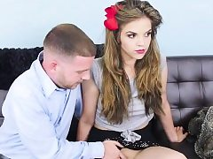 Thin teenager stunner gets pummeled rigid and deep on the couch