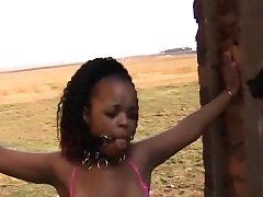 Superb african teenager with ultra-cute jugs got her figure manhandled