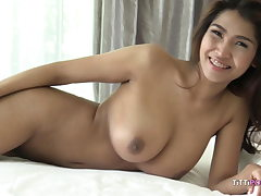 busty asian girl let's foreigner tear up her wet