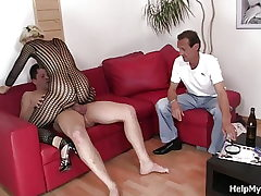 Old husband observing wifey railing another cock