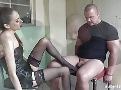 Bound man submissed by Euro domina! Great Femdom!