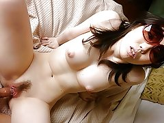 Chinese brunette, Chika Aratani is getting penetrated at home,