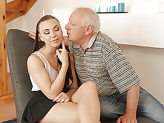 DADDY4K. Senior gentleman lightly lures beautiful redhead to..