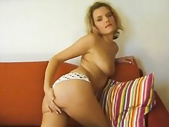 Czech blondie curly haired dame shows her body