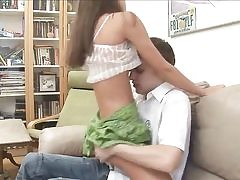 Thin amateur babe riding bf's dick on bed
