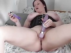 Chubby slut dressed in a insatiable harness and she is masturbating her cooter