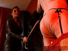 Older guy all naked and nasty is well-prepped to obey his dominatrix on movie