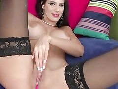 Horny babe is licking a fat dildo all over and fucks her cunt hole