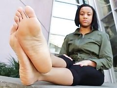 Feet fetish pornography video with a ultra-kinky stunner showing her slutty feet