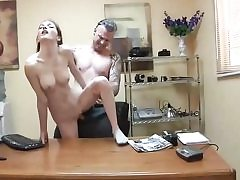 Bony whore gets slammed on the office table and deepthroats cock