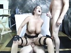 Super-naughty Lara Croft with big boobs gets fucked by two kinky men